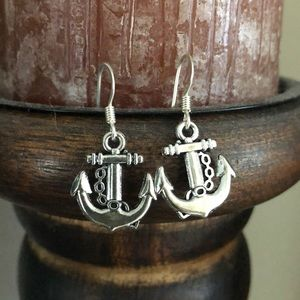 Jewelry - Silver Anchor Earrings, NEW